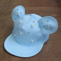 Women Lovely Mickey Big Ears Baseball Cap Girls Cute Mouse Hip Hop Caps Casual Summer Mesh pearl Sun Hats Casquette Gifts