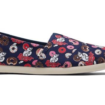 TOMS - Men's Classics Venice Collection Ortholite Randy's Donut Navy Printed Slip-Ons