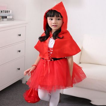 Cute Little Red Riding Hood Cosplay Costume Girls Lovely Halloween Christmas Dress Send Child Festival Gifts 3 Pcs For Children
