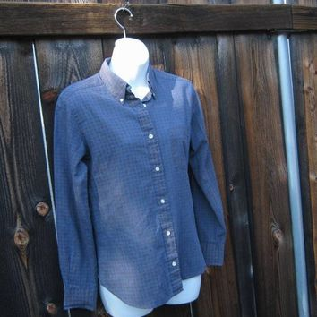 Blue Paisley Print '60s-'70s Vintage Small Long-Sleeve Button Down Shirt/Tailored/Feminine-Masculine; U.S. Shipping Included