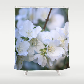 Hawthorne Flowers After Rain Shower Curtain by Theresa Campbell D'August Art