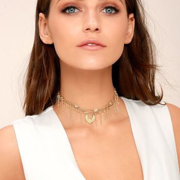Horoscope Gold Layered Choker Necklace