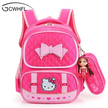Hello Kitty School Backpacks For Children Nylon Girls Princess School Bag Waterproof Kids Satchel Girl Schoolbag mochila escolar