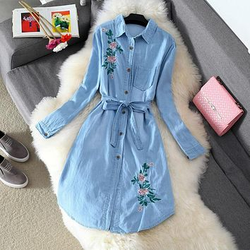 Retro Rose Flower Embroidery Bandage Long Sleeve Denim Cardigan Shirt Dress