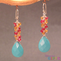 "Clusters of ruby, mandarin garnet, and sleeping beauty turquoise, 1-1/2"" Earring Gold Or Silver"