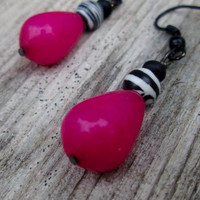 Hot Pink , Black and White, Zebra Stone , Good Luck , Dangle Earrings , Candy Jade , Tear Drops, Pink Black White