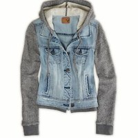 NWT American Eagle AE Women's Denim Vested Hooded Hoodie Jacket Coat XS S M L XL