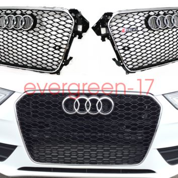 For 13-16 Audi A4 S4 B8.5 RS4 Front Upper Grill Sport Honeycomb Mesh Silver Ring