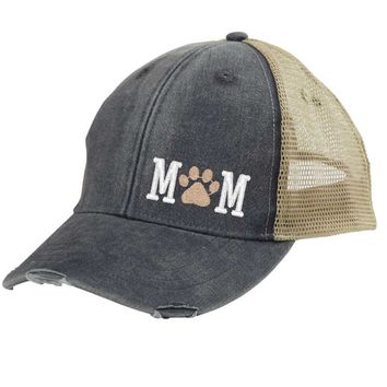 Dog  Mom Trucker Hat - Distressed Snapback - off-center