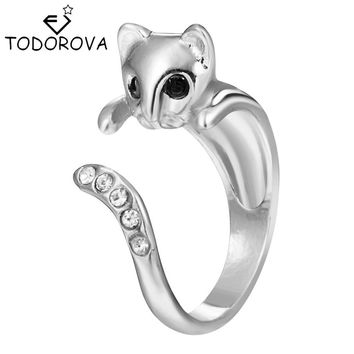 Todorova 10pcs Hippie Punk Crystal Wedding Band Boho Chic Knuckle Animal Cat Rings for Women Men Fashion Jewelry Best Gift