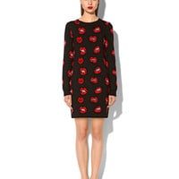 "BLACK JACQUARD DRESS WITH ""LIPS AND KISSES"" MOTIFS"