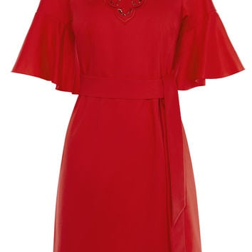 EMBROIDERED TIE WAIST DRESS - RED
