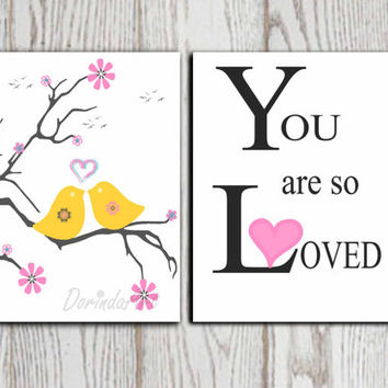 Birds printable You are so loved print Gray yellow Pink White Nursery print Set of 2 Nursery wall decor Little girl bedroom decor Download