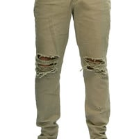 The Ripped Zip Leg Jeans in Clay