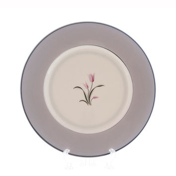 Vintage Franciscan China Salad Plates Claremont Lavender Gray Platinum Rim and Verge Pink and Platinum Flower Mid Century Replacement China