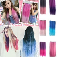 Ushoppingcart 2014 Fashion Style Newfangled Fashionable Multicolor Gradually Varied One Piece Straight Synthetic Clip-on Hair Extension 60cm Length,Multiple Choice for Dreamlike Girls (Dark Pink to Light Pink)