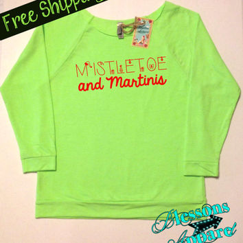 MiStLeToe and MaRTiNiS. Christmas Sweatshirt. Ugly Christmas Sweater. Women's Clothing. Funny Christmas Sweatshirt. XMAS. Free Shipping USA