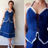 Denim & Eyelet Lace Up Sweetheart Peplum Prairie Halter Dress 70's J. J. and Company Size 11