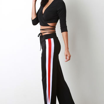 Sporty Striped Wide Leg Pants | UrbanOG