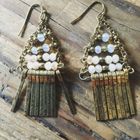 SALE!  $12.99  WAS $29.00 Celebrity Inspired Burnished Gold Dangle Beaded Earrings