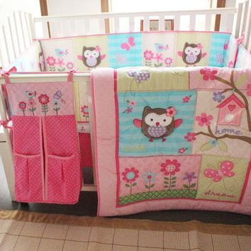 6pc. Infant Girls Pink Owl 100% Cotton Jacquard Nursery Crib Bedding Set