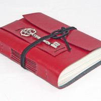 Red Faux Leather Journal with Key Charm and Bookmark