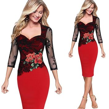 Women Dresses Embroidered Floral See Through Lace Party Evening Bridemaid Mother of Bride Special Occasion Embroidery Dress 204