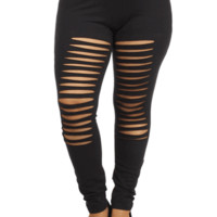 Plus Size Hot Shredded Black Leggings, Plus Size Clothing, Club Wear, Dresses, Tops, Sexy Trendy Plus Size Women Clothes