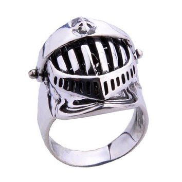 Thai .925 Silver Samurai Ring for Men's Fashion Warrior Armor Cool Jewelry-Size 8