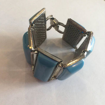 Turquoise blue panel link bracelet, retro, chunky, vintage statement jewelry