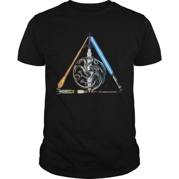 All sword star war and mother of dragon Game of Thrones shirt Guys Tee