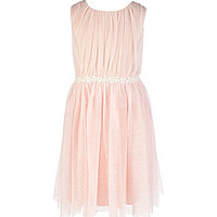 Xtraordinary 7-16 Stone-Accented-Drop-Waist Dress - Blush