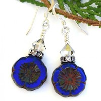 Cobalt Blue Flower Earrings, Czech Glass Swarovski Crystals Handmade Pansy Jewelry