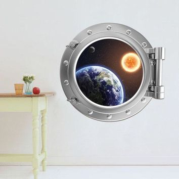 3D Stereo Space Capsule Design Removable Wall Stickers