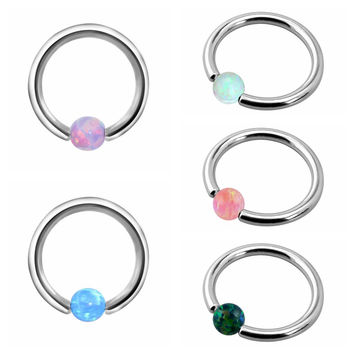 1PC G23 Titanium Nose Rings Ear Cartilage Rings Captive Bead Rings Opal Stone Piercing Nose CBR 16G For Sexy Girls Body Jewelry