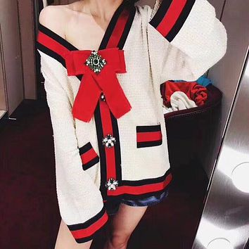 """Gucci"" Women Temperament Fashion Multicolor Stripe Bow V-Neck Long Sleeve Knit Cardigan Sweater Coat"