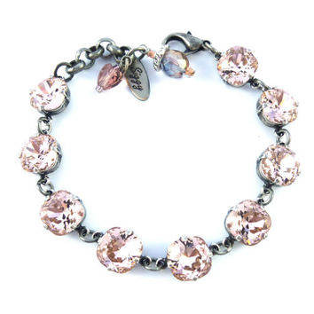 CHAMPAGNE GLIMMER, Chunky cushion cut, Swarovski crystal bracelet in Vintage Rose, chain link, Siggy bling