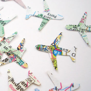 100 Mini Airplanes Map Atlas punch die cut confetti scrapbook embellishments - No191