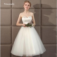 Women's Timeless Ivory Short Flared Beach Wedding Party Dress With Satin Bodice And Spaghetti Straps