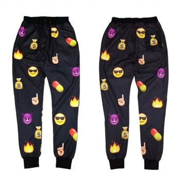 Mens/Womens Black EMOJI funny Autumn Winter print thicken 3D jogger Pants = 1914114756