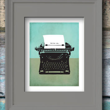 Vintage Typewriter - Write On Digital Art Print. Black and white with mint background. Instant Download, Great Last Minute Gift! #retrolane