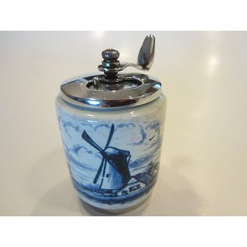Blue Windmill Holland White Porcelain Pepper Grinder Monterrey Park California George Thompson