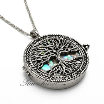 DCCKH7E Silver 5X Magnifying Glass Mother of Pearl Tree of Life Pendant 31' Necklace 04s