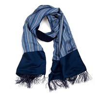 Men's Blue Multi Stripe Wool Silk Mix Scarf