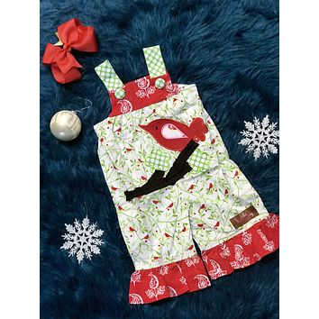 2018 Christmas Cardinal Applique Jay Romper