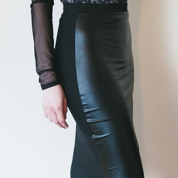 Ambitious - Vegan leather knee length pencil skirt