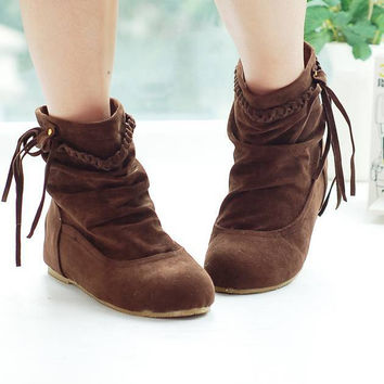 Western Women Boots Faux Suede-Leather Inner Heels Ankle Boots botas mujer Tassel Slip On Woman Shoes