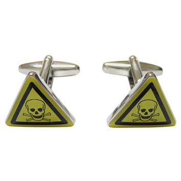 Skull Death Danger Warning Cufflinks
