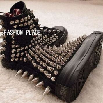 VONE05D studed converse shoes converse all star studed shoes personality fashion stud shoes