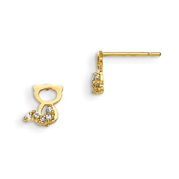 14kt Yellow Gold Bright Tailed Sitting Kitten Girls Stud Earrings